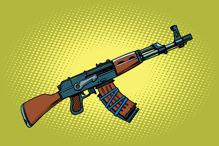 AKM Soviet automatic weapons. Comic cartoon style pop art vector retro illustration