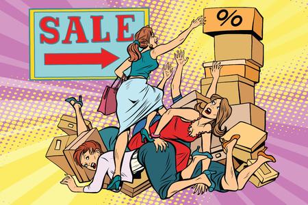 Women battle for discount on sale. Comic cartoon style pop art vector retro illustration