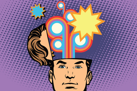 Man with an open head festival fireworks carnival celebration. Comic cartoon style pop art retro color vector illustration Ilustrace