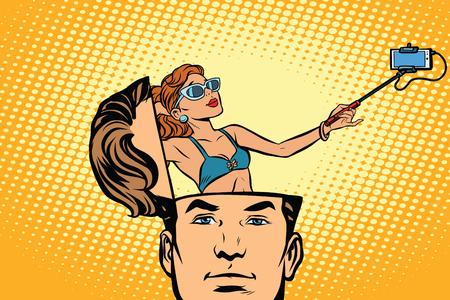 Man with an open head. Comic cartoon style pop art retro color vector illustration
