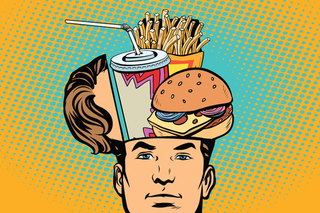 Man with an open head fast food. Comic cartoon style pop art retro color vector illustration Banco de Imagens