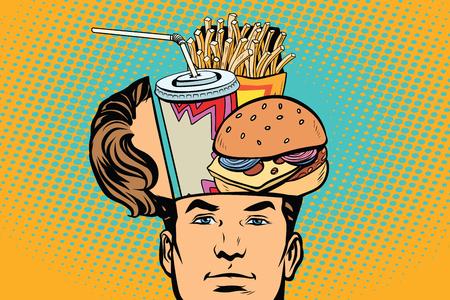 Man with an open head fast food. Comic cartoon style pop art retro color vector illustration Stockfoto