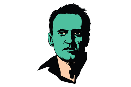 politician Alexei Navalny with a green face. Comic cartoon style pop art retro color vector illustration
