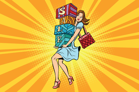 Young woman with boxes sale, buyer and shopping. Comic cartoon vintage pop art retro vector illustration