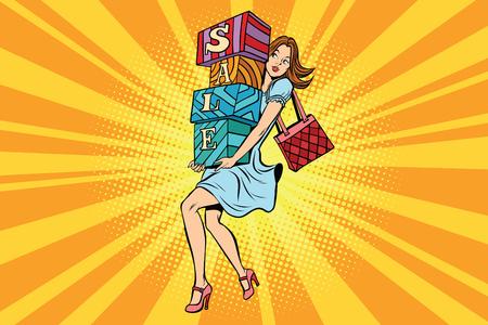 Jeune femme avec des boîtes de vente, acheteur et shopping. Dessin animé comique vintage pop art rétro illustration vectorielle Banque d'images - 78272428