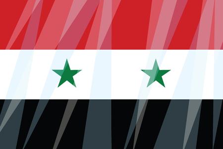 State flag of Syria. Comic cartoon vintage pop art retro vector illustration