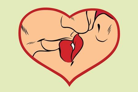 男と女のキス、愛の心。ロマンチックなカップル。コミック漫画ビンテージ ポップ アート レトロなベクトル イラスト 写真素材