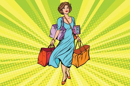 Woman with empty shopping bags. Comic cartoon vintage pop art retro vector illustration