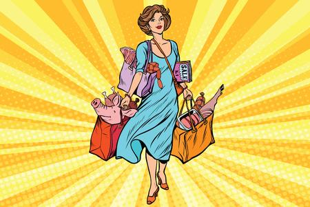 Female buyer with meat. Farmers market. Comic cartoon vintage pop art retro vector illustration Stock Photo