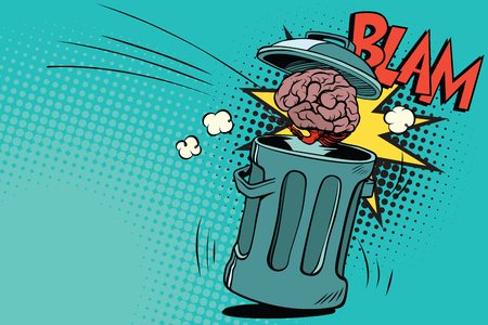 Human brain is thrown in the trash. Comic book cartoon pop art retro color vector illustration hand drawn Ilustrace