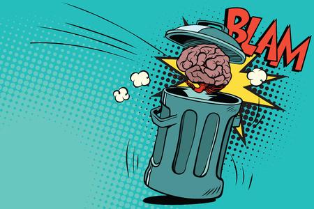 Human brain is thrown in the trash. Comic book cartoon pop art retro color vector illustration hand drawn Illustration