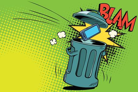 Smartphone arrojado a la basura. Cómic dibujos animados de dibujos animados arte retro color ilustración vectorial dibujado a mano