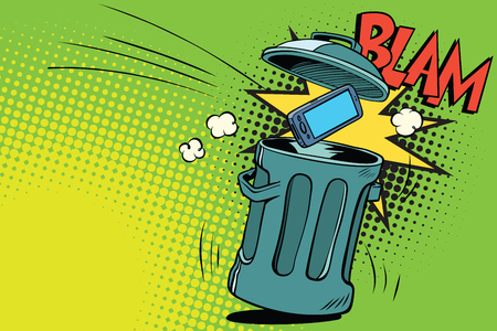 Smartphone thrown in the trash. Comic book cartoon pop art retro color vector illustration hand drawn