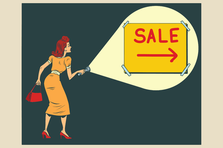 Woman shining a flashlight at the inscription sale. Comic book cartoon pop art retro color vector illustration hand drawn
