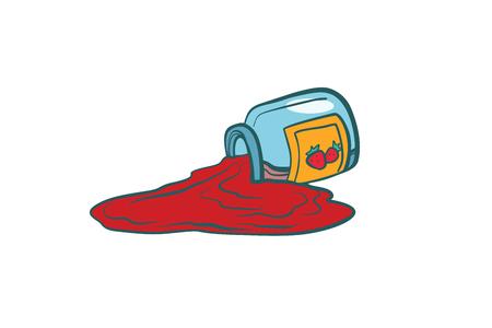 딸기 잼와 유리 항아리입니다. 만화 만화 팝 아트 복고 색 벡터 일러스트 레이 션 손으로 그린