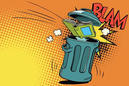 本をゴミ箱にスローします。コミック漫画 pop アート レトロ色ベクトル イラスト手描き