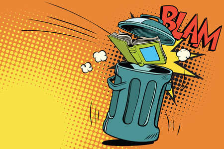 Book thrown in the trash. Comic book cartoon pop art retro color vector illustration hand drawn