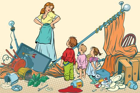 끔찍한 어머니와 아이들이 집에서 혼란스러워했습니다. 만화 만화 팝 아트 복고 색 벡터 일러스트 레이 션 손으로 그린 일러스트