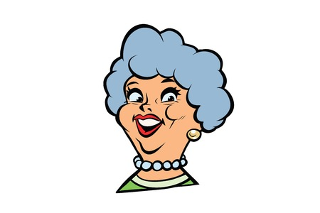 Funny adult woman fashionable grandmother portrait. Comic book cartoon pop art retro color vector illustration hand drawn Illustration