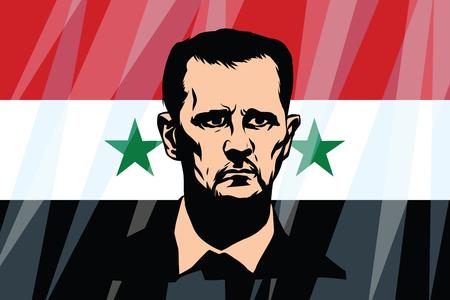 Bashar Hafez al-Assad President of Syria. Comic cartoon vintage pop art retro vector illustration Illusztráció