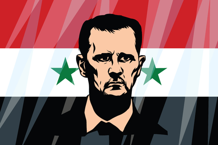 Bashar Hafez al-Assad President of Syria. Comic cartoon vintage pop art retro vector illustration Иллюстрация