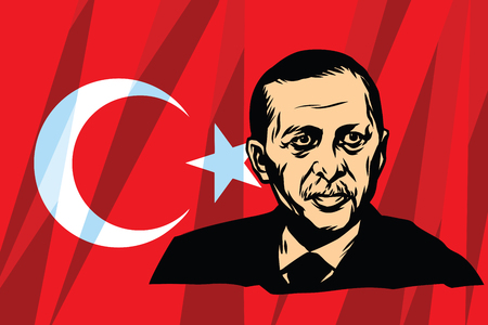 recep tayyip erdogan: Turkish President Recep Tayyip Erdogan. Comic cartoon vintage pop art retro vector illustration