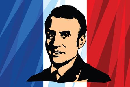 프랑스의 대통령 Emmanuel Jean-Michel Frederic Macron. 국기. 만화 만화 빈티지 팝 아트 복고풍 벡터 일러스트 레이션