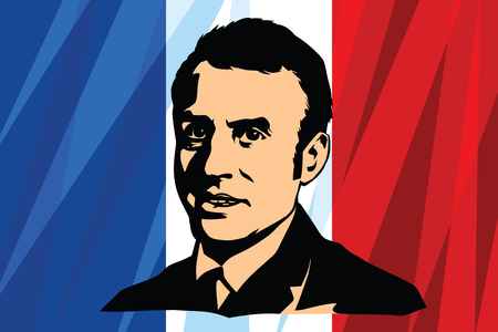 President of France Emmanuel Jean-Michel Frederic Macron. national flag. Comic cartoon vintage pop art retro vector illustration