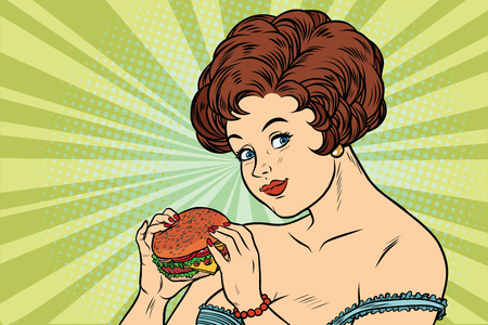 Mooie sexy vrouw en hamburger. Heerlijk eten. Cartoon comic illustratie pop art retro stijl vector