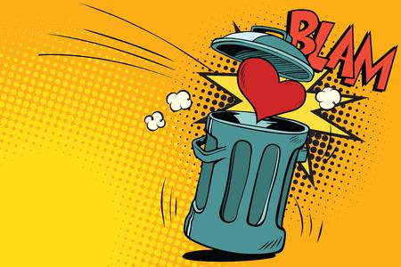 end of love, heart thrown in the trash. Cartoon comic illustration pop art retro style vector
