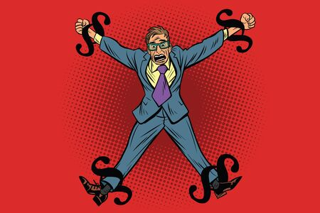 shackles: Businessman chained in legal rules, paragraphs as chain. Cartoon comic illustration pop art retro style vector