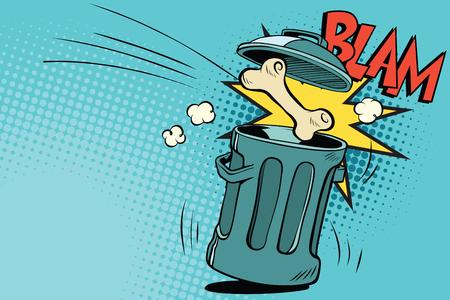 Bone dog flies in the trash. Cartoon comic illustration pop art retro style vector