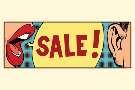 Rumors about a sale, pop art concept. Cartoon comic illustration retro style vector Stock Photo