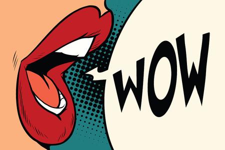Pop art mouth wow. Cartoon comic illustration pop art retro style vector