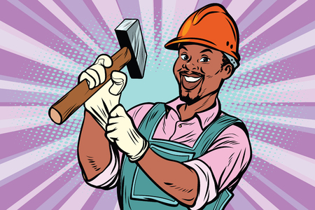 Construction worker with the repair tool hammer. African American people. Comic book cartoon pop art retro colored drawing vintage illustration