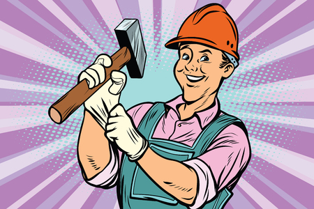 Construction worker with the repair tool hammer. Comic book cartoon pop art retro colored drawing vintage illustration