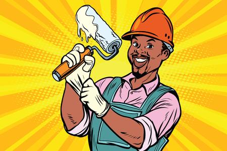 페인트에 대 한 복구 도구 롤러와 건설 노동자. 아프리카 계 미국인. 만화 만화 팝 아트 복고 컬러 드로잉 빈티지 그림