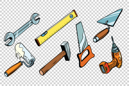 Set repair tools, isolated background. wrench paint roller saw hammer drill level trowel. Comic book cartoon pop art retro colored drawing vintage illustration