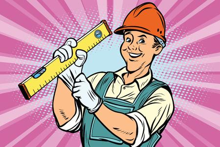 Travailleur de la construction avec le niveau de l'outil de réparation. Bandes dessinées dessin animé pop art rétro dessin coloré illustration vintage Banque d'images - 79732951