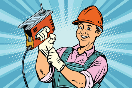 Construction worker with the repair tool jigsaw. Comic book cartoon pop art retro colored drawing vintage illustration