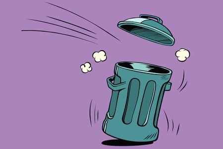 Street trash, ecology and waste management. Comic book cartoon pop art retro color vector illustration hand drawn