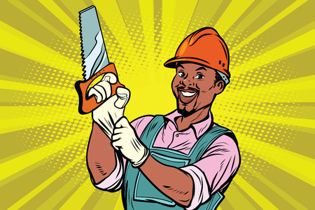 Construction worker with the repair tool saw. African American people. Comic book cartoon pop art retro colored drawing vintage illustration