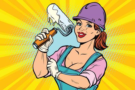 Žena profesionální. Stavební dělník s válečkem na opravu nářadí. Komiksové kreslené kreslené pop art retro barevné kresby vinobraní ilustrace