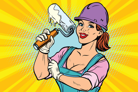 Woman professional. Construction worker with the repair tool roller for paint. Comic book cartoon pop art retro colored drawing vintage illustration Иллюстрация