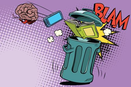 Electrónica del cerebro y un libro tirado en la basura. El concepto de rechazo del conocimiento. Bandera de dibujos animados de dibujos animados pop art retro color ilustración vectorial dibujado a mano