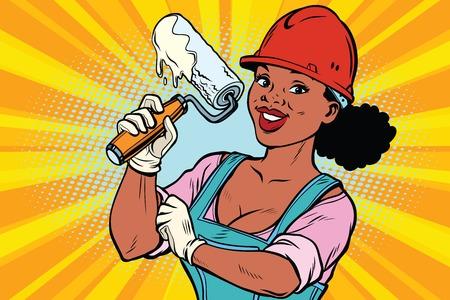 Žena profesionální. Stavební dělník s válečkem na opravu nářadí. Afroameričané. Komiksové kreslené kreslené pop art retro barevné kresby vinobraní ilustrace