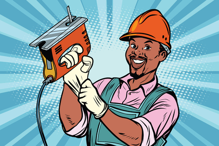 Construction worker with the repair tool jigsaw. African American people. Comic book cartoon pop art retro colored drawing vintage illustration