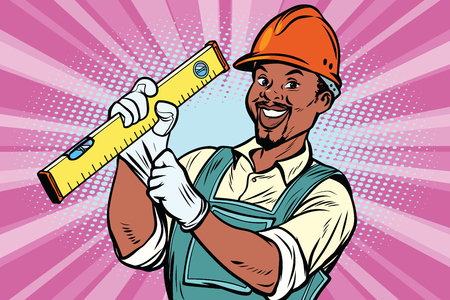 Construction worker with the repair tool level. African American people. Comic book cartoon pop art retro colored drawing vintage illustration