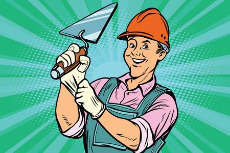 Operaio edile con l'utensile di riparazione trowell. Fumetto fumetto pop art retro illustrazione colorata disegno vintage Archivio Fotografico - 79740477