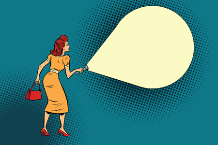 woman light flashlight. Copy space. Comic book cartoon pop art retro color vector illustration hand drawn